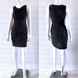 Andrew Marc Black Blue Knit Lace Sleeveless Dress